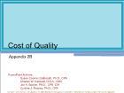 Appendix 2B: Cost of Quality