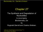 Bài giảng Biochemistry 2/e - Chapter 27: The Synthesis and Degradation of Nucleotides