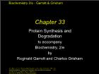Bài giảng Biochemistry 2/e - Chapter 33: Protein Synthesis and Degradation