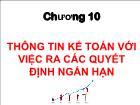 Bài giảng Kế toán quản trị - Chương 10: Thông tin kế toán với việc ra các quyết định ngắn hạn