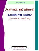 Các kỹ thuật phổ biến nhất giải phương trình lượng giác (lớp 11 & ôn thi THPT quốc gia)