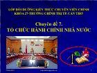 Luật học - Chuyên đề 7: Tổ chức hành chính nhà nước