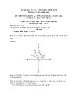 Đề thi tốt nghiệp cao đẳng nghề: Kỹ thuật xây dựng - Môn thi: Lý thuyết chuyên môn nghề - Mã đề thi: KTXD - LT 14