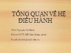 Bài giảng Hệ điều hành - Phần 1: Tổng quan về hệ điều hành - Nguyễn Lê Minh
