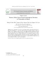 Factors Affect Green Food Consumption Intention of Consumers in Hanoi