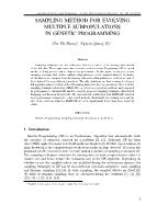 Sampling method for evolving multiple subpopulations in genetic programming